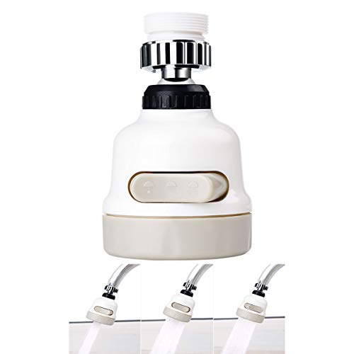 Amener Flexible Kitchen Tap Head Movable Sink Faucet 360° Rotatable ABS Sprayer Removable Anti-Splash Adjustable Filter Nozzle Swivel Water Saving Aerator 3 Modes