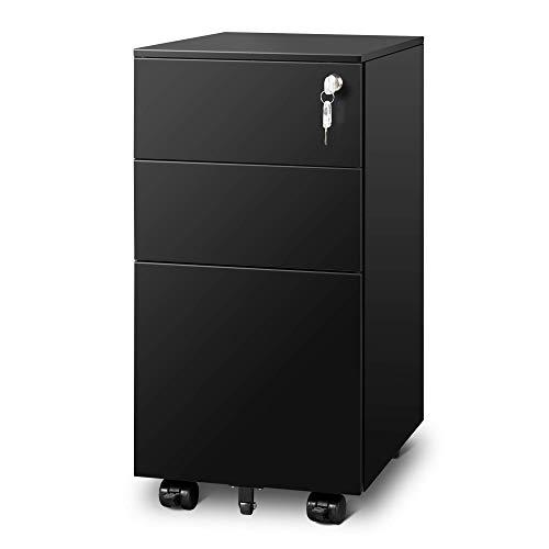 DEVAISE Metall Rollcontainer Aktenschränke Büro-Rollcontainer Bürocontainer mit 3 Schublade für A4; Mobilen, Abschließbar, 30cm B x 43,5cm T x 60cm H, Schwarz