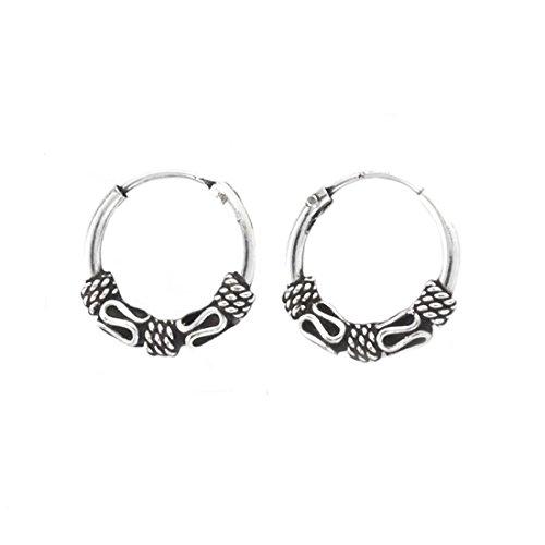 Silverly Pendientes de Aro Mujeres Hombre de Plata 925 en Estilo Balinés 12 mm