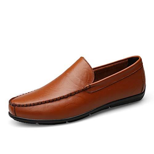 ZH~K QLANG Mocasines para Hombres Redondo Moc Toe Ciro de Cuero Slips...