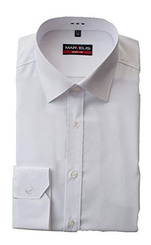 Marvelis Hemd, Body Fit mit extra Langen Arm 69cm, Hellblau, Schwarz, Weiß, Bügelleicht, New York Kent (42, Weiß)