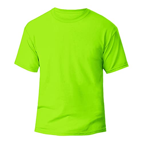 Miracle TM Athletic Neon Color High Visibility Shirt - Adult Green Wicking Mens Running T Shirt (M)