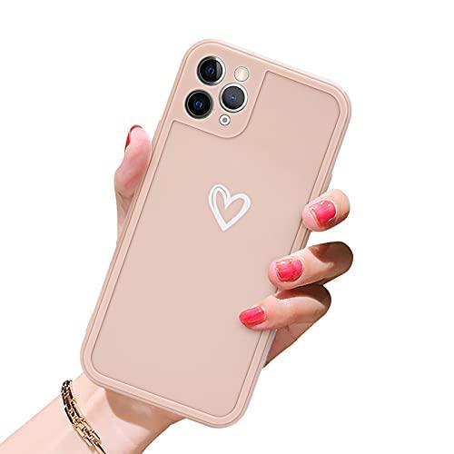 Newseego TPU Suave Funda para iPhone 11 Pro MAX, Carcasa Protectora Antigolpes con Parachoques para iPhone 11 Pro MAX Delgada Funda Love Heart Soft Silicona Case Cover para iPhone 11 Pro MAX-Rosa