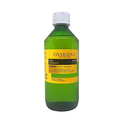 Oxxigena - Olio di Semi di Canapa 100% Puro e Naturale Pressato a Freddo, Confezione da 500 ml, Olio Idratante, Nutriente per Cosmetici, Azione Antirughe, Ideale per la Cura della Pelle e dei Capelli