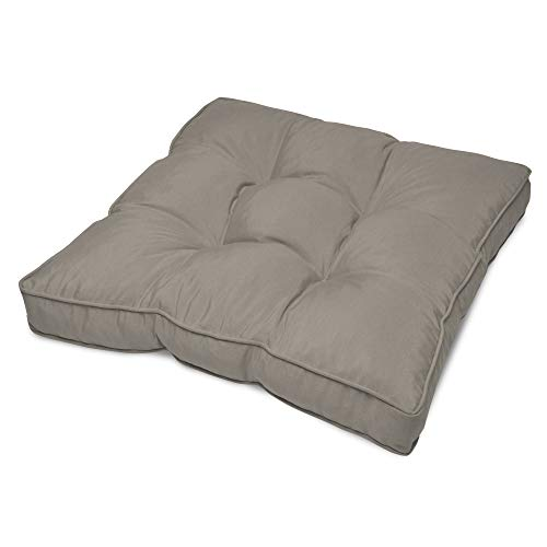 Beautissu Flair Lounge Outdoor Kissen Wasserabweisend Sitzkissen 60x60x10cm Polster für Gartenmöbel und Rattan Loungekissen Hellgrau