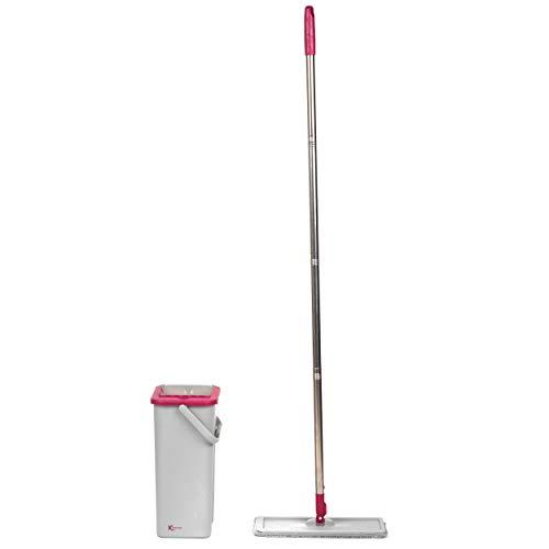 Juego de mopas y cucharones de cabeza plana Kleeneze KL062253EU para ahorrar espacio, rascador para eliminar suciedad y timbre incorporado, compacto para una solución de almacenamiento fácil