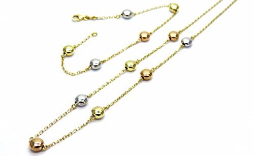 Parure Donna Oro Bianco Giallo 18kt Collana Bracciale con Inserti Lenticchie Lucide Tre Colori