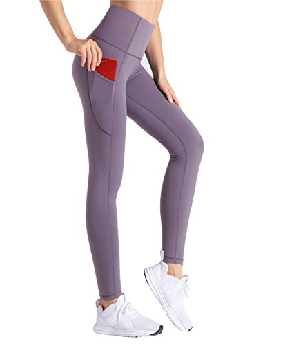 THE GYM PEOPLE Thick High Waist Yoga Pants with Pockets, Tummy Control Workout Running Yoga Leggings for Women (Medium, Light Purple)