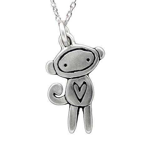 Sterling Silver Sock Monkey Necklace on 18' 925 Chain for Girls