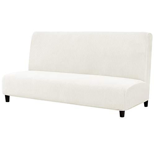 subrtex Sofabezug ohne Armlehnen Stretch Abdeckung Husse für Sofabett Sofaüberzug Armless Antirutsch (Creme-1)
