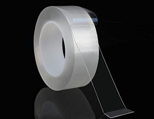 Cinta Nano Adhesivo Lavable de Doble Cara Sin Rastro, Multifuncional Transparente Traceless Grip Tape de Silicona ExtraíBle Antideslizante Reutilizable 300cm