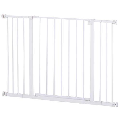 Pawhut Barrera de Seguridad Extensible Puertas y Escaleras Metálica para Perros y Bebé Barrera Puertas Mascota 72-107x76cm