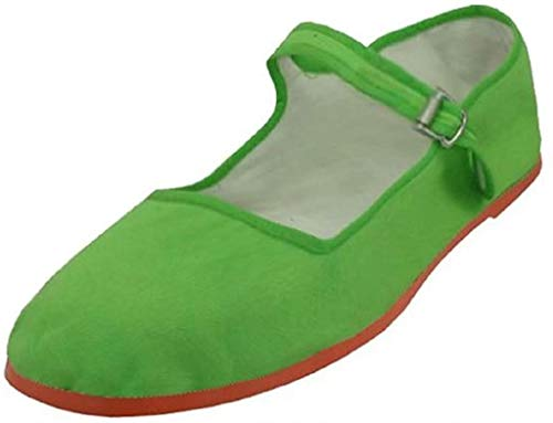 Easy USA Women's Cotton Mary Jane Shoes Ballerina Ballet Flats Shoes (6, Green)