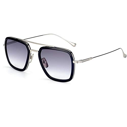 Spider Man Edith Glasses,Vintage Square Metal Frame for Women Sunglasses Classic Downey Iron Man Tony Stark Shades (Grey)
