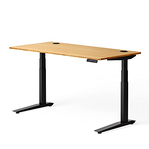 Fully Jarvis Standing Desk 48' x 30' Bamboo Top - Electric Adjustable Desk Height from 25.5' to 51' with Memory Preset Controller (Rectangle, Black Frame)