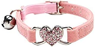 DAIXI Cat Collar with Safety Belt and Bell Heart Bling 8-11 Inches