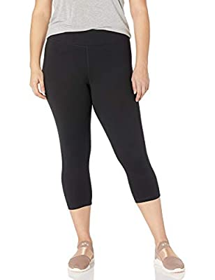 Just My Size Women's Plus Size Active Stretch Capri, Black, 2X