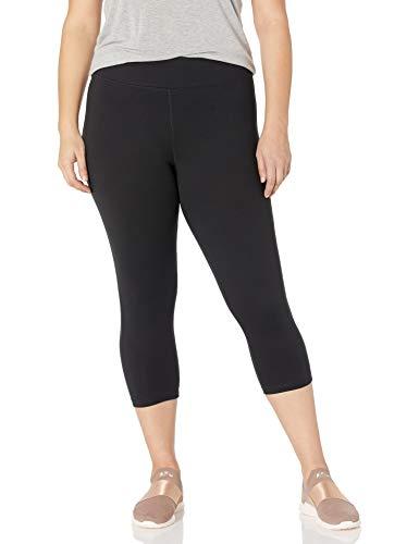 Just My Size Women's Plus Size Active Stretch Capri, Black, 3X