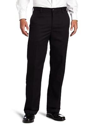 IZOD Men's American Chino Flat Front Straight Fit Pant, Black, 29W x 30L