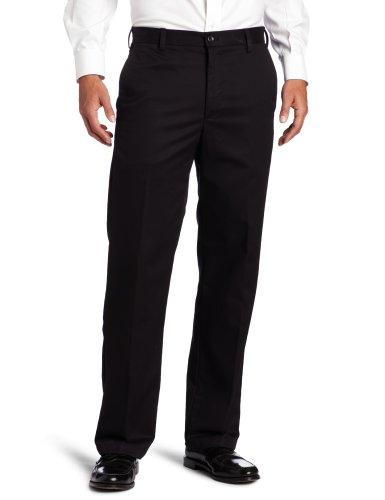 IZOD Men's American Chino Flat Front Straight Fit Pant, Black, 32W x 34L