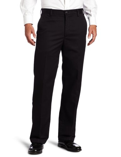 IZOD Men's American Chino Flat Front Straight Fit Pant, Black, 34W x 32L