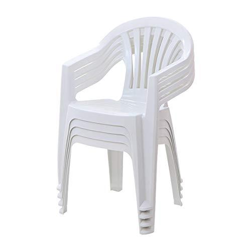 ガーデンチェアー 4脚セット ポリプロピレン製 PP ホワイト 軽量で持ち運び簡単 ガーデンファニチャー セット ガーデン ガーデンチェア ガーデンチェアセット キャンプチェア アウトドア アウトドアチェア おしゃれ スタッキング プラスチック 白 gch