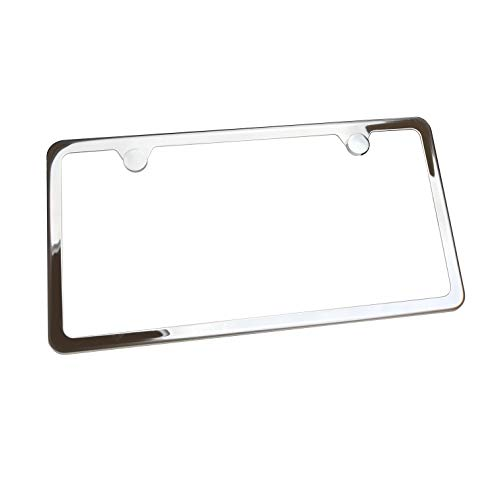 Circle Cool T304 Stainless Steel Polish Mirror Two Hole Slim License Plate Frame Holder Tag w/Chrome Metal Cap …