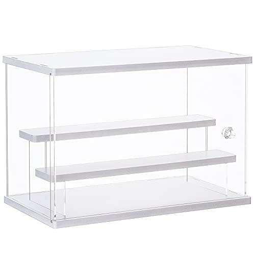 CECOLIC Acrylic Display Case Clear Display Storage Box Countertop Cube for Collectibles, Action Figures, Miniature Figurines Dustproof Protection Storage & Organizing (White, 12.4x7x8.6in)
