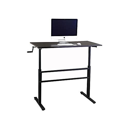 WENHAUS Escritorio ajustable en altura para ordenador, soporte de altura ajustable, se adapta a todo tipo de mesas (marrón oscuro)