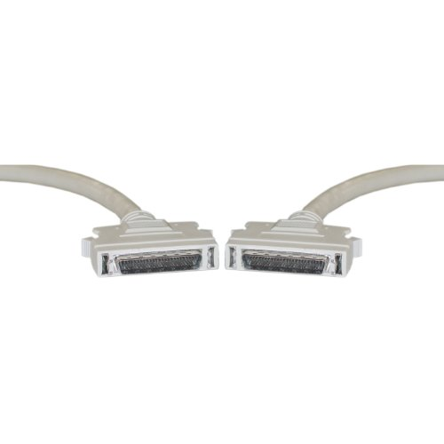 SCSI II Cable, Half Pitch DB50 Male to Male, HPDB50(M/M), 25 Twisted Pairs, 28AWG, DB 50 Pin Male to Male Connector with SCSI II Cable, 6 Foot, Beige, CableWholesale