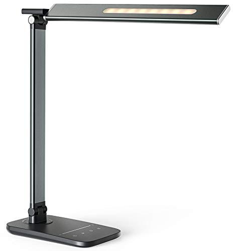 LITOM LED Schreibtischlampe Metall Tageslichtlampe mit 10 Helligkeits- und 5 Farbstufen, USB Anschluss, Einzigartiges Nachtlicht, Speicherfunktion, Ultradünn Tischleuchte für Büro, Studium, Arbeit