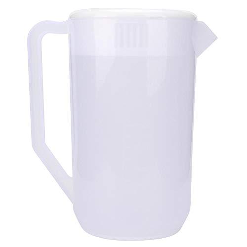 Ladieshow Bouilloire Froide en Plastique, Pot de cruche d'eau en Plastique Non Toxique réutilisable de Grande capacité 4000 ML(Couverture Blanche Transparente)