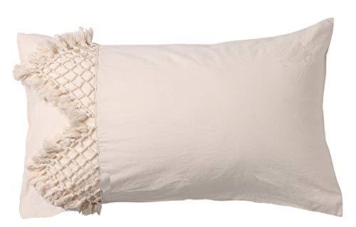 Flber Fundas de almohada de algodón con borla, 48 x 73 cm, juego de 2
