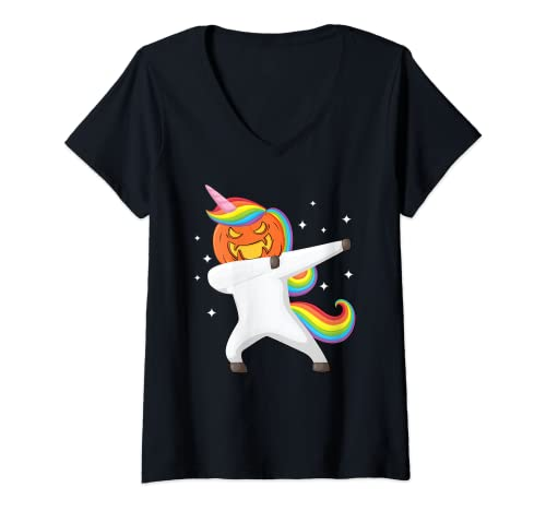Mujer Dabbing Halloween Unicorn Scary Pumpkin Halloween Camiseta Cuello V