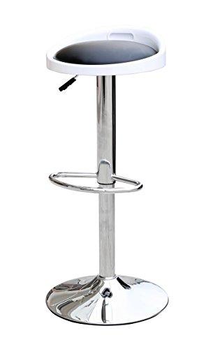 Manchester Furniture Supplies MFS de 0006Taburete con Negra de Barcelona, Piel sintética, Color Blanco, 36x 36x 65cm