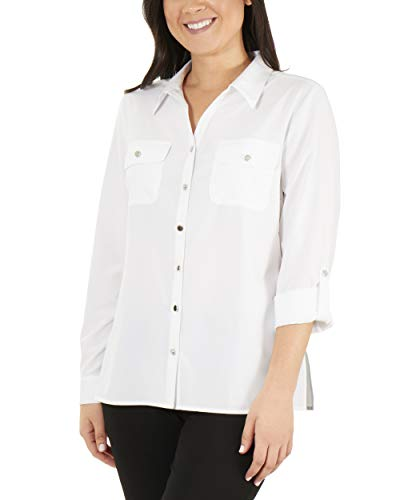 NY Collection 3/4 Roll Tab Sleeve Button Down Blouse White