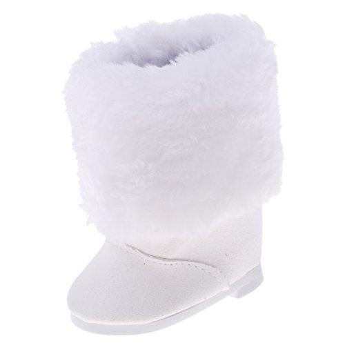 Gazechimp Puppen Winter Schuhe - Weiße Plüsch Zipper Schneestiefel / Schneeschuhe - Zubehör für 18'' American Girl Puppen