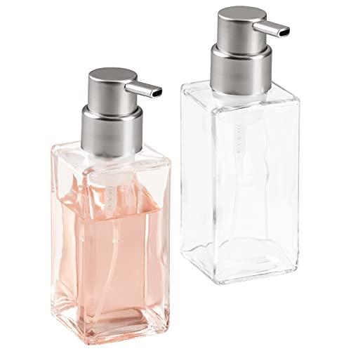 mDesign Dispensador de espuma recargable - Dosificador de jabón líquido de cristal...