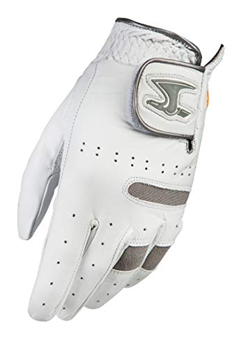 Dega Golfhandschuh für Herren, 100 % Cabretta-Leder, linke Hand, Premium, 2 Stück, weicher Griff, Weiß & Grau (M/L)