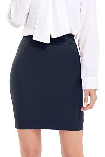 AUQCO Women Business Bodycon Mini Pencil Skirt Above The Knee 19' Navy