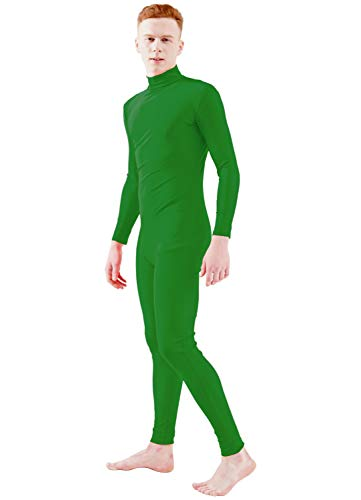 Ensnovo Adult Spandex Turtleneck Long Sleeve One Piece Unitard Bodysuit Dancewear Green, L