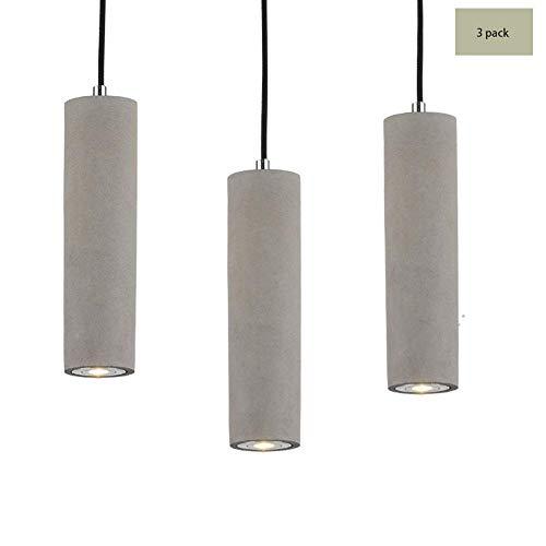 PXY Lámparas de Luces Colgantes de Cemento Led, 1 / 3Heads Estilo Nórdico Retro Araña Industrial Altura Cilíndrica Lámpara Colgante para la Barra de Dormitorio [Clase de Energía a ++],3 Paquetes