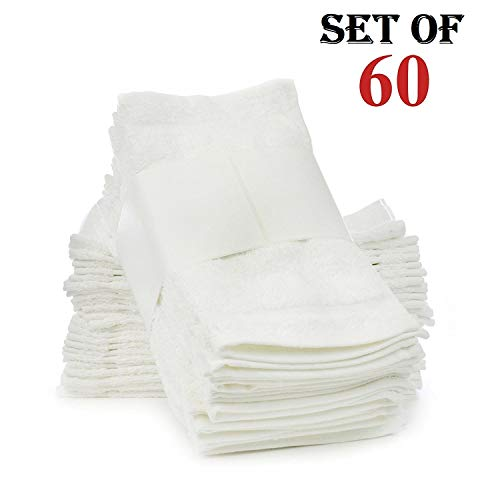 Soft Touch Linen Terry Cloth Face Towels, 12 x 12-Inch, Pack of 60, White
