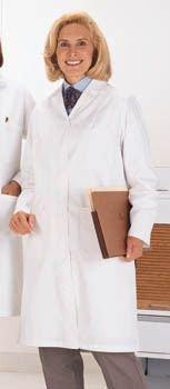 Worklon 438S Damen Labormantel, 65% Polyester/35% gekämmte Baumwolle, Popeline, lange Knopfleiste, 104 cm Länge, Weiß, Größe S