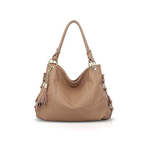 NICOLE & DORIS Damen handtasche Umhängetasche mit großer Kapazität Weiche Ledertasche shopper Neue Designer handtasche Top Griff Taschen mit Quaste Khaki