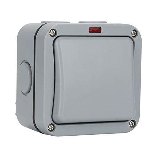 ZHIYA Interruptor de luz para uso en exteriores interruptor de luz para sala húmeda de doble superficie interruptor basculante resistente a la intemperie para uso en exteriores área exterior IP robust
