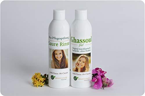 Kit de soin bio pour cheveux - En lave marocaine très fine et originale - Pour les soins sans produits chimiques : 250 ml de mélange de lavage PUR, 250 ml de rinçage acide dans un paquet cadeau