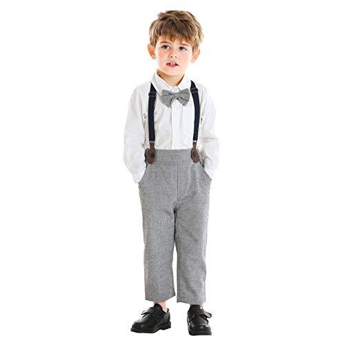 MRULIC Baby Junge Bowtie Gentleman Weste T-Shirt Hosen Hochzeit Anzug Tuch Sets(B-Weiß,Höhe:90-100cm)