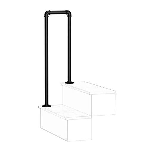 GJIF - Rampa de escaleras en forma de U mate seguridad negro anti-Slip de hierro forjado de acero galvanizado, tubo balustrado, Villa Garden Canal Mano de la Corona de Soporte