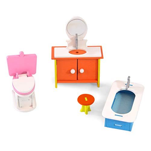 BUIDI 1 Set Bunte Holzpuppe Miniatur Hauszubehör Möbel Puppenhaus Set Möbel 4